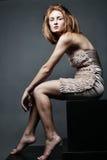 κομψή καλυμμένη γυναίκα στούντιο φορεμάτων Στοκ φωτογραφία με δικαίωμα ελεύθερης χρήσης