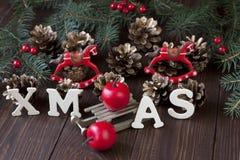 Κομψή κλασική κάρτα υποβάθρου Χριστουγέννων για τις διακοπές Στοκ Εικόνα