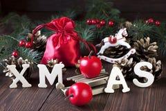 Κομψή κλασική κάρτα υποβάθρου Χριστουγέννων για τις διακοπές Στοκ Εικόνες
