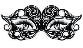 Κομψή μάσκα καρναβαλιού με τα όμορφα προκλητικά μάτια γυναικών ελεύθερη απεικόνιση δικαιώματος