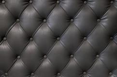 Κομψή μαύρη σύσταση δέρματος με τα κουμπιά για το σχέδιο και το υπόβαθρο Στοκ Εικόνα