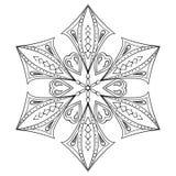 Κομψή νιφάδα χιονιού Zentangle για τις ενήλικες χρωματίζοντας σελίδες Διάνυσμα ή ελεύθερη απεικόνιση δικαιώματος