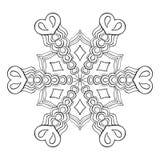 Κομψή νιφάδα χιονιού Zentangle, mandala για τις ενήλικες χρωματίζοντας σελίδες ελεύθερη απεικόνιση δικαιώματος