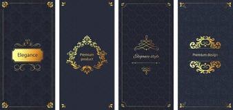 κομψή πρόσκληση Διακοσμητικό damask σχέδιο διακοσμήσεων, χρυσό πλαίσιο και μπαρόκ περίκομψο υπόβαθρο φυλλάδιων πολυτέλειας απεικόνιση αποθεμάτων