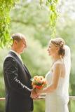 Κομψή τοποθέτηση νυφών και νεόνυμφων μαζί υπαίθρια σε μια ημέρα γάμου Στοκ Φωτογραφίες