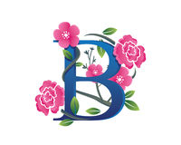 Κομψή Floral απεικόνιση λογότυπων αλφάβητου Β Στοκ φωτογραφία με δικαίωμα ελεύθερης χρήσης
