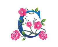 Κομψή Floral απεικόνιση λογότυπων αλφάβητου Γ Στοκ φωτογραφία με δικαίωμα ελεύθερης χρήσης