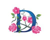 Κομψή Floral απεικόνιση λογότυπων αλφάβητου Δ Στοκ φωτογραφία με δικαίωμα ελεύθερης χρήσης