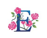 Κομψή Floral απεικόνιση λογότυπων αλφάβητου Ε Στοκ φωτογραφία με δικαίωμα ελεύθερης χρήσης