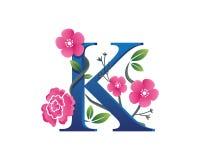 Κομψή Floral απεικόνιση λογότυπων αλφάβητου Κ Στοκ Εικόνες