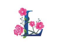 Κομψή Floral απεικόνιση λογότυπων αλφάβητου Λ Στοκ Φωτογραφία