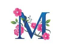 Κομψή Floral απεικόνιση λογότυπων αλφάβητου Μ Στοκ εικόνες με δικαίωμα ελεύθερης χρήσης