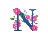 Κομψή Floral απεικόνιση λογότυπων αλφάβητου Ν Στοκ εικόνα με δικαίωμα ελεύθερης χρήσης