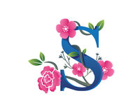 Κομψή Floral απεικόνιση λογότυπων αλφάβητου του S Στοκ Εικόνες