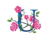 Κομψή Floral απεικόνιση λογότυπων αλφάβητου του U Στοκ εικόνα με δικαίωμα ελεύθερης χρήσης