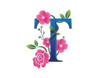 Κομψή Floral απεικόνιση λογότυπων αλφάβητου Τ Στοκ φωτογραφίες με δικαίωμα ελεύθερης χρήσης