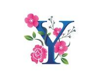 Κομψή Floral απεικόνιση λογότυπων αλφάβητου Υ Στοκ εικόνα με δικαίωμα ελεύθερης χρήσης