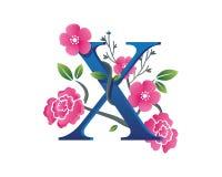 Κομψή Floral απεικόνιση λογότυπων αλφάβητου Χ Στοκ Εικόνες