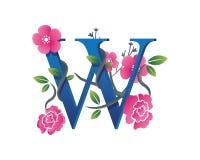 Κομψή Floral απεικόνιση λογότυπων αλφάβητου W Στοκ εικόνα με δικαίωμα ελεύθερης χρήσης