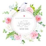Κομψή floral διανυσματική στρογγυλή κάρτα ελεύθερη απεικόνιση δικαιώματος