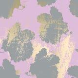 Κομψός κοκκινίστε ρόδινη χρυσή καθιερώνουσα τη μόδα μαρμάρινη σύσταση grunge με τη floral διακόσμηση απεικόνιση αποθεμάτων