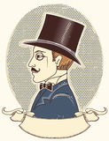 Κομψός κύριος σε ένα τοπ μαύρο καπέλο. Διάνυσμα vintag Στοκ φωτογραφίες με δικαίωμα ελεύθερης χρήσης