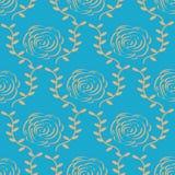 Κομψός χρυσός αυξήθηκε σχέδιο στο μπλε υπόβαθρο επίσης corel σύρετε το διάνυσμα απεικόνισης Τέχνη γραμμών Στοκ φωτογραφίες με δικαίωμα ελεύθερης χρήσης