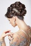 Κομψότητα και κομψός. Όμορφο Brunette με αριστοκρατικό Hairstyle. Πολυτέλεια Στοκ φωτογραφίες με δικαίωμα ελεύθερης χρήσης