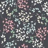 Κομψό άνευ ραφής σχέδιο με τα λουλούδια και τα φύλλα Στοκ εικόνες με δικαίωμα ελεύθερης χρήσης