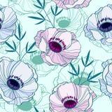 Κομψό άνευ ραφής σχέδιο με τα anemones Στοκ φωτογραφία με δικαίωμα ελεύθερης χρήσης