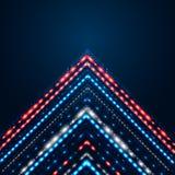 Κομψό λαμπρό βέλος σε ένα σκούρο μπλε υπόβαθρο. Στοκ Φωτογραφία