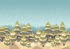 Κομψό δασικό άνευ ραφής υπόβαθρο, χειμώνας, χιόνι Στοκ Εικόνες