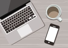 Κομψό γραφείο με ένα διανυσματικό επίπεδο σχέδιο φλιτζανιών του καφέ, handphone και lap-top ελεύθερη απεικόνιση δικαιώματος