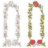 Κομψό εκλεκτής ποιότητας πλαίσιο με τα τριαντάφυλλα και τα στοιχεία φύλλων διακοσμητικό διάνυσμα σ&upsi Στοκ Εικόνες
