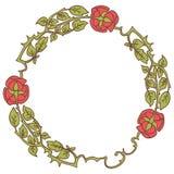 Κομψό εκλεκτής ποιότητας στρογγυλό πλαίσιο με τα τριαντάφυλλα και τα στοιχεία φύλλων διακοσμητικό διάνυσμα σ&upsi Στοκ Εικόνα