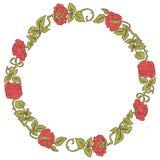 Κομψό εκλεκτής ποιότητας στρογγυλό πλαίσιο με τα τριαντάφυλλα και τα στοιχεία φύλλων διακοσμητικό διάνυσμα σ&upsi Στοκ Φωτογραφίες