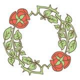 Κομψό εκλεκτής ποιότητας στρογγυλό πλαίσιο με τα τριαντάφυλλα και τα στοιχεία φύλλων διακοσμητικό διάνυσμα σ&upsi Στοκ φωτογραφίες με δικαίωμα ελεύθερης χρήσης