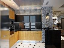 Κομψό και πολυτελές σύγχρονο εσωτερικό σχέδιο κουζινών στοκ εικόνες