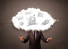 Κομψό κεφάλι σύννεφων επιχειρησιακών ατόμων με συρμένες τις χέρι γραφικές παραστάσεις Στοκ Εικόνες
