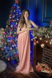 Κομψό κορίτσι σε ένα ρόδινο μακρύ φόρεμα βραδιού Στοκ Εικόνες