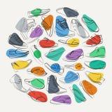 Κομψό κολάζ των παπουτσιών και των μποτών των ατόμων ζωηρόχρωμα σημεία Στοκ φωτογραφία με δικαίωμα ελεύθερης χρήσης