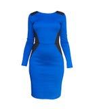Κομψό μπλε φόρεμα συναρμολογήσεων μορφής που απομονώνεται πέρα από το λευκό Στοκ Εικόνες