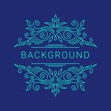 Κομψό μπλε floral πλαίσιο Διάνυσμα Lineart Στοκ εικόνα με δικαίωμα ελεύθερης χρήσης