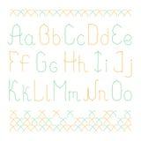 Κομψό πεζό αγγλικό αλφάβητο με τη διαγώνια βελονιά Στοκ Εικόνα