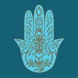 Κομψό περίκομψο συρμένο χέρι Hamsa Χέρι της Fatima Στοκ φωτογραφίες με δικαίωμα ελεύθερης χρήσης