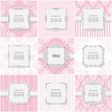 Κομψό πλαίσιο που τίθεται στα διαφορετικά σχέδια στο ροζ κρητιδογραφιών Στοκ εικόνα με δικαίωμα ελεύθερης χρήσης