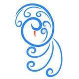 Κομψό πουλί, μπλε μπούκλες και σπείρα, σχέδιο ελεύθερη απεικόνιση δικαιώματος