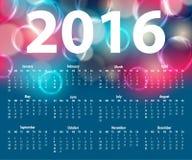 Κομψό πρότυπο για το ημερολόγιο του 2016 Στοκ Εικόνες