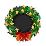 Κομψό στεφάνι Χριστουγέννων με τα αστέρια και το τόξο Ελεύθερη απεικόνιση δικαιώματος