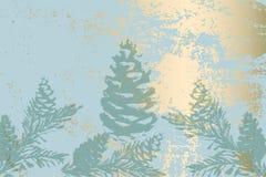 Κομψό σχέδιο βοτανικής πεύκων τυπωμένων υλών χειμερινών κρητιδογραφιών χρυσό braches διανυσματική απεικόνιση